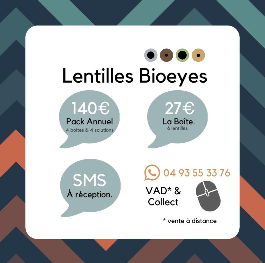 Tarifs de la lentilles Bioeyes